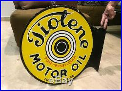 Tiolene Motor Oil Vintage Porcelain Sign, Gas, Oil, Gargoyle, Pegasus, 2 Sided