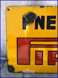 Tyres Pirelli Pneumatici 1950 Enamel Porcelain Sign Pneus Garage Auto Motor Oil