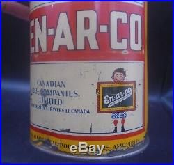 ULTRA RARE 1930's VINTAGE EN-AR-CO OUTBOARD MOTOR OIL IMPERIAL QUART CAN