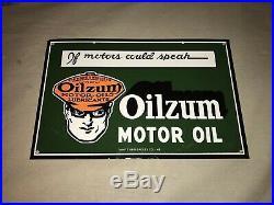 VINTAGE 1948 OILZUM MOTOR OIL PORCELAIN ADVERTISING SIGN Original