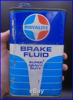 VINTAGE 1950's ROYALITE MOTOR OIL IMPERIAL QUART CANS & BRAKE FLUID CAN LOT