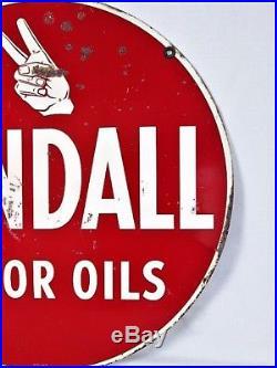 VINTAGE 1950s KENDALL MOTOR OIL GAS STATION 2 SIDED 24 METAL SIGN
