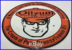 VINTAGE OILZUM MOTOR OIL PORCELAIN GAS STATION PUMP SIGN Pure Pennsylvania