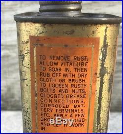 VINTAGE OILZUM VITA LUBE MOTOR OIL CAN White & Bagley Worcester VITALUBE RARE