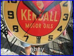 VINTAGE ORIGINAL 1950's 60's KENDALL MOTOR OIL LIGHTED CLOCK RUNS GREAT