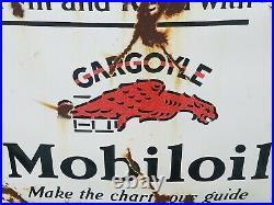 VTG 20s MOBIL GARGOYLE SINGLE SIDED PORCELAIN MOTOR OIL GAS STATION SIGN 36 X 30