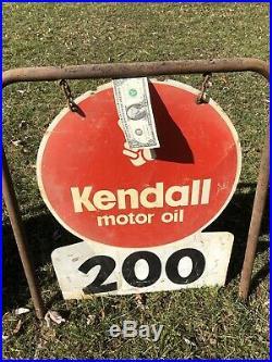 VTG KENDALL MOTOR OIL Track Side Distance Signs 2 Sided Metal Lot Set of 5