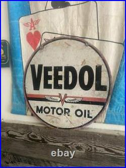 Veedol Flying A V double sided sign round motor oil tidewater associated tycol