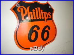 Vintage 12 Phillips 66 Gasoline Pump Plate Gas Motor Oil Porcelain Signs Old