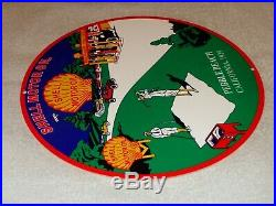 Vintage 1929 Shell Motor Oil Pebble Beach Golf Course Ca 12 Metal Gasoline Sign