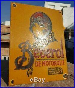 Vintage 1930's Old Antique Rare Beverol Motor Oil Porcelain Enamel Sign Board