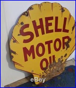 Vintage 1930's SHELL Motor Oil Porcelain Sign Original Early 2 sided