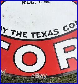 Vintage 1930s TEXACO GASOLINE Motor Oil Gas Station 2 Sided Porcelain Sign 42