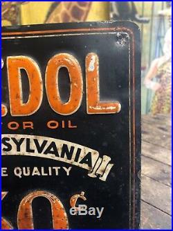 Vintage 1930s Veedol Motor Oil Sign Pennsylvania Gas Station Gas Pump Sign Rare