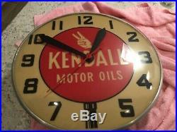 Vintage 1940-50s Kendall Motor Oil Advertising Light Up Clock Rare Clock Works