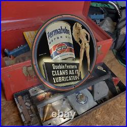 Vintage 1940 Amoco'Permalube' Motor Oil Porcelain Gas & Oil Metal Sign