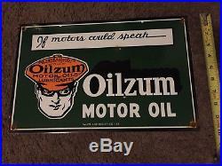 Vintage 1948 Oilzum Motor Oil Porcelain Advertising Sign
