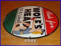 Vintage 1948 Wolf's Head Motor Oil Model 11 3/4 Porcelain Metal Gasoline Sign