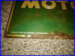 Vintage 1950's 1956 Quaker State Motor Oil 2-Sided Tombstone Sign, Large, Heavy