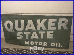 Vintage 1950's Quaker State Motor Oil Metal Sign 70 x 35