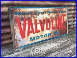 Vintage 1969 Valvoline Motor Oil Sign 18x36 Inch Gas Station Advertising Metal