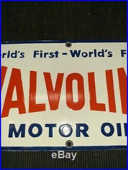 Vintage 1969 Valvoline Motor Oil Sign Original Gas Station Advertising Porcelain