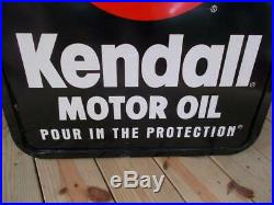 Vintage 2 sided KENDALL MOTOR OIL SIGN mounted metal frame 25 x 31 1/4