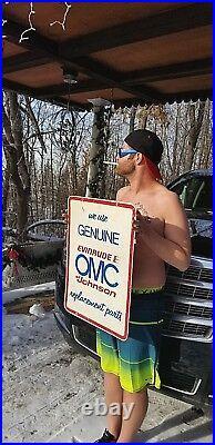 Vintage 2sided Evinrude OMC Outboard Boat Motor Metal Sign Gasoline Oil Fishing