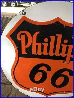 Vintage 30 Phillips 66 Porcelain Gas Motor Oil Double Sided Sign