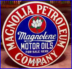 Vintage 30 Porcelain Magnolia Magnolene Motor Oils Sign
