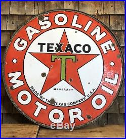 Vintage 30s TEXACO Gasoline Motor Oil Service Station 2 Sided Porcelain Sign 42