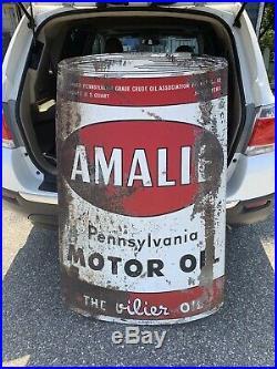 Vintage Amalie Motor Oil Can Metal Sign Gas Gasoline Service Station