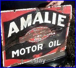 Vintage Amalie Motor Oil Metal Porcelain Sign Gas Gasoline Service Station 28X20