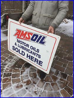 Vintage Ams Oil Motor Oil Metal Sign Gas Gasoline Service Station 36X24 Ams Oil