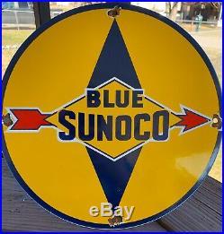 Vintage Blue Sunoco Porcelain Sign Gas Motor Oil Metal Service Station Gasoline