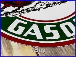 Vintage Buffalo Gasoline Porcelain Sign Gas Motor Oil Service Station Pump Plate