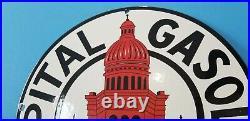 Vintage Capital Gasoline Porcelain Gas Motor Oil Service Station Pump Plate Sign