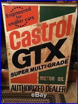Vintage Castrol GTX Motor Oil Double Sided Metal Sign
