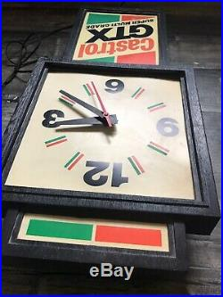 Vintage Castrol GTX Motor Oil Illuminated Sign & Clock