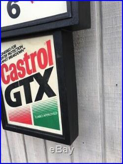 Vintage Castrol Motor Oil Illuminated Sign & Clock Mancave Petrolinia