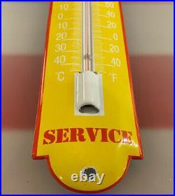 Vintage Castrol Porcelain Thermometer Gasoline Sales & Service Motor Oil Lube