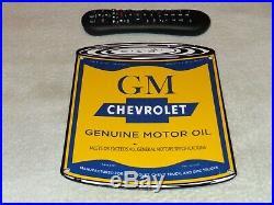Vintage Chevrolet Gm Motor Oil Can 11 Porcelain Metal Car Truck Gasoline Sign