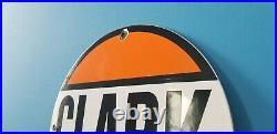 Vintage Clark Gasoline Porcelain Gas & Motor Oil Service Station Pump Plate Sign