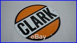Vintage Clark Porcelain Sign Gas Motor Oil Metal Service Station Gasoline Rare