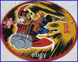Vintage Conoco N-tane Gasoline Porcelain Thor Sign Motor Oil Marvel Comics Rare