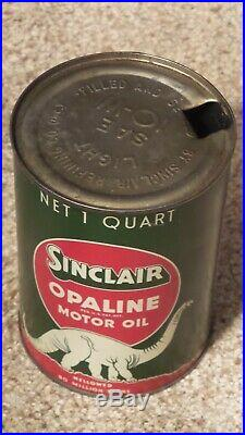 Vintage DINO Sinclair Opaline Motor Oil One Quart Metal Oil Can Gas Sign MINTY