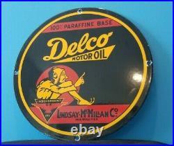 Vintage Delco Gasoline Porcelain Motor Oil Service Station Pump Plate Sign