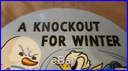 Vintage Disney Donald Duck RPM Motor Oil Porcelain Sign Gas Pump Plate Station