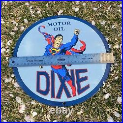 Vintage Dixie Motor Oil Superman 12 Porcelain Metal Gas & Oil Pump Ad Sign