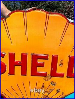 Vintage Early 48 in. Porcelain Dicut Embossed Shell Motor Oil Gas Clamshell Sign